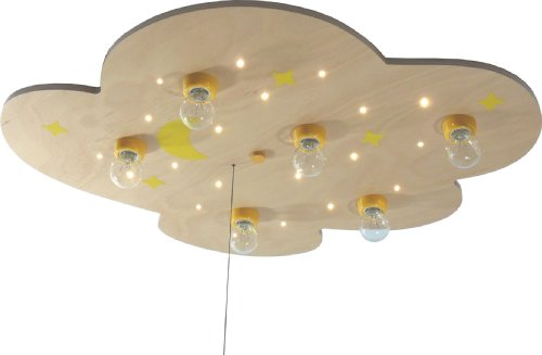 Niermann Standby LED Cloud XXL Ceiling Lamp, Wood Moon and Stars