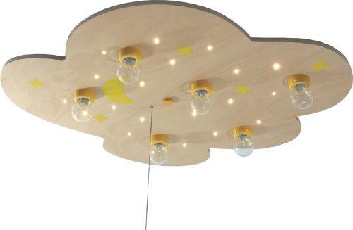 Niermann Standby LED Cloud XXL Ceiling Lamp, Wood Moon and Stars