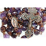 Large Amethyst and Copper 10mm 5 Decade Stone Bead Rosary With Pardon Crucifix Made in Oklahoma (Color: Purple, Copper,)