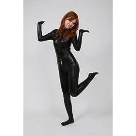指先と爪先まで覆う キャットスーツ 黒色 (AM17-5H) 女性Lサイズ