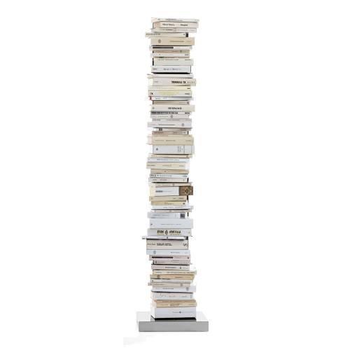 Ptolomeo libros columna pie 160cm blanco/Soporte Acero inoxidable