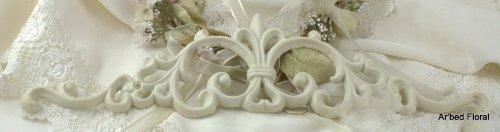 """Cast Iron Fleur De Lis Picture Topper ~ Antique White 18"""" front-127285"""