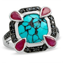 Gordon's Jewelers Turquoise and Ruby Sterling Silver Ring with Enhanced Black Diamond Accents