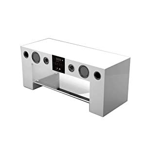 nesx ne780b meuble tv hifi amplifi bluetooth blanc tv vid o. Black Bedroom Furniture Sets. Home Design Ideas
