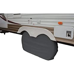 Tandem Dual Axle Vinyl Tire Cover 30″ – 32″ Black for Trailers, Camper Fits 14″ and 15″ Rim Sizes Like 235/75/16, 245/75/16, 265/75/15