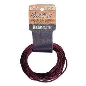 3mm Satin Rattail Braiding Cord Plum 6 Yards For Kumihimo and Craft