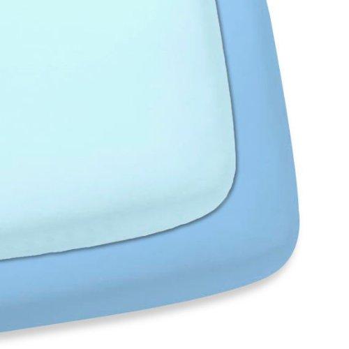 Gerber 2 Pack Woven Cotten Fitted Crib Sheet (Light Blue/Sky Blue)