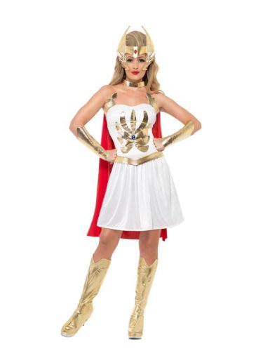 Smiffy's She-Ra Costume Dress Arm Cuffs Bootcovers Head Piece and Cape - Six Sizes from S to X-Large