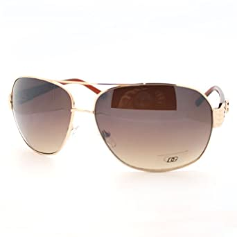 Amazon.com: Gold Brown Mens Oversized Square Aviator Metal ...