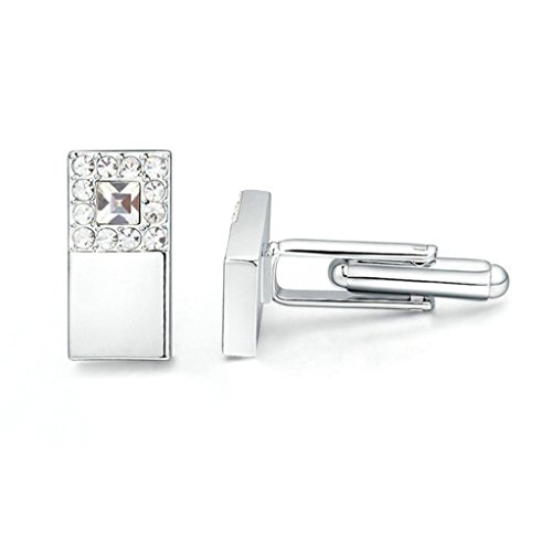 Epinki Womens Mens Gold Plated Cufflinks Crystal Square Cubic Zirconia White Business Wedding Cufflinks (J Goodman Cufflinks compare prices)