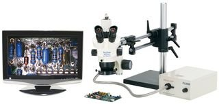 "O.C. White Tkpz-Ta Pro-Zoom 6.5 Trinocular Microscope With Ball Bearing Base, Analog Camera And Fl3000-A ""Annular"" Fiber Optic Light Source"