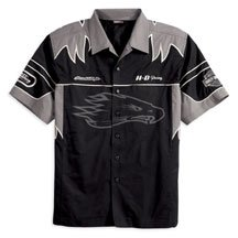 Buy Harley Davidson Men's Black Bird Short Sleeve Shirt. 100% cotton twill. Button front. Two chest pockets. Embroidered Harley-Davidson and Screamin' Eagle graphics on sleeves, front, and back. 98314-08VM