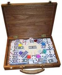 Domino MEXICAN TRAIN, Doppel 12, Holzkoffer