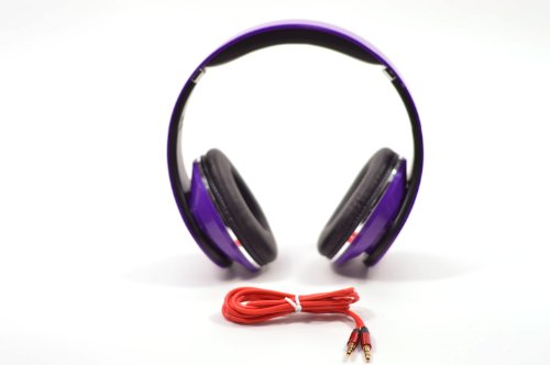 Flotera Over The Ear Adjustable Purple Headphone 3.5Mm Ipod Mp3 With