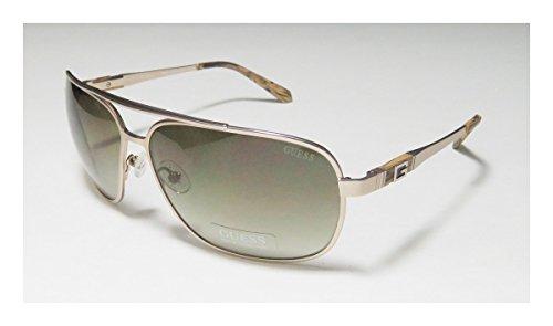 Guess 6813 Mens Aviator Full-rim Gradient Lenses Sunglasses/Sun Glasses (64-13-135, Gold / Brown)