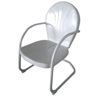 AmeriHome Outdoor Patio Garden Retro Style Metal 225lb Capacity Lawn Chair White