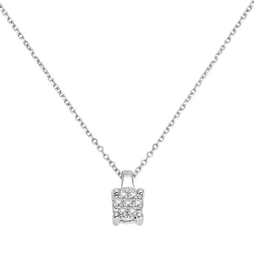 Diamond Necklace, 9ct White Gold, Diamond Square