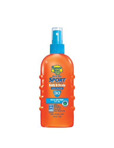 tan with sunscreen:Banana Boat Quik Dri Sport Body & Scalp Spray Sunscreen SPF 30: 6 OZ