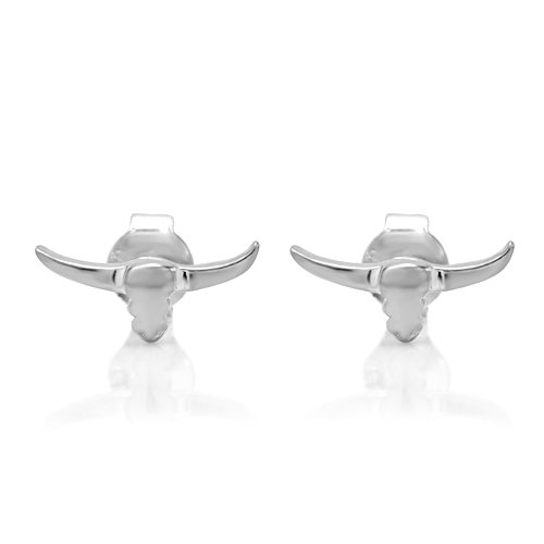 925 Sterling Silver Small Long Horn Bull Head 2-D Post Stud Earrings 5 mm Fashion Jewelry for Women, Men, Teens - Nickel Free