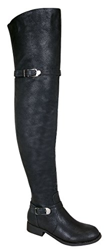 Renee-14W Women's Thigh High Causal Rider Boots with Dual Buckle Black 10