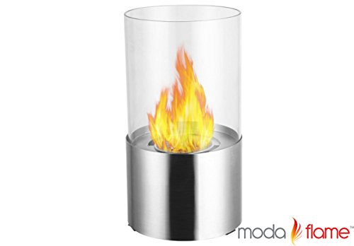 Moda Flame Lit Table Top Firepit Bio-Ethanol Fireplace In Stainless Steel