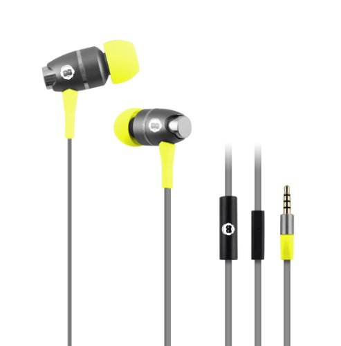 Brooklyn Headphone Company High Performance In-Ear Headphones With Built-In Microphone - Retail Packaging - Gray/Yellow