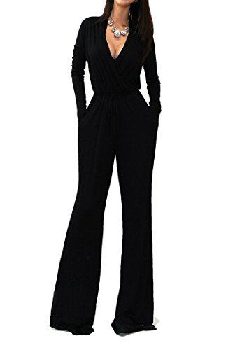 VIVICASTLE Sexy Wrap Top Wide Leg Long Sleeve Cocktail Knit Jumpsuit (Large, Black) (Cocktail Pant Suits compare prices)
