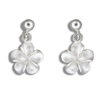 Dangling Plumeria Flower Sterling Silver Hawaiian Earrings