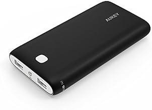 Aukey ® Batería Externa 20000mAh, Power bank, Batería portatil, Cargador para iPhone iPad iPod Tablets Teléfono inteligente Móvil MP3 MP4 PSP GPS Samsung Android Dos Salidas USB de 5V 1A / 2.1A (Negro)