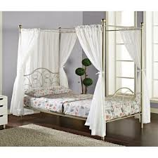 Double Canopy Full Bed With Curtains, Pewter