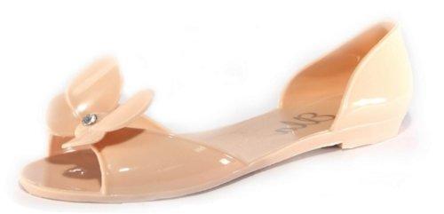 Donna Nuda, colore: nero, bianco e rosa farfalle in Gel Peep Toe Sandali spiaggia estate Pretty, beige (Nude), 39