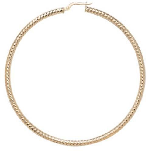 9ct Gold Diamond Cut Hoop Earrings 60mm