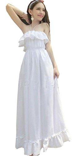 Women Summer Bohemian Beach Dress Chiffon Halter Backless Long Maxi Sundress