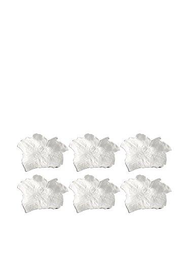 Pordamsa Set of 6 Handmade Porcelain Grape Leaf Plates