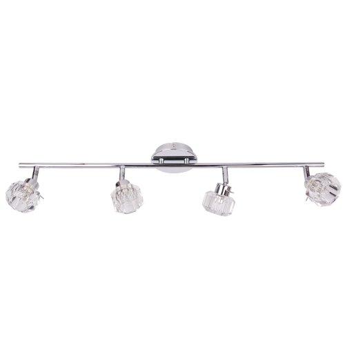 """Plafoniera a barra dritta con 4 faretti vetro massiccio effetto cristallo """"Biarritz"""" regolabile, lampadine G9, inclusa"""
