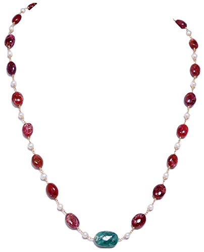 Pearl, Emerald & Pink Spinel Gemstone Bead Knotted Necklace Made In Solid Silver (multicolor)