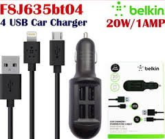 Belkin-4-Port-Usb-Car-Charger-V8-+-8-Pin-Cable(Iphone-5S,S4,S3,HTC)