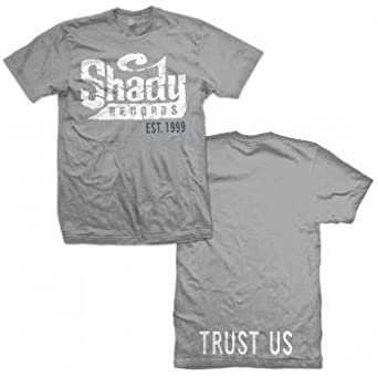 Shady Records - Mens Trust Us Logo T-shirt in Charcoal, Size: XX-Large, Color: Charcoal