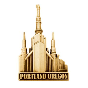 LDS Mens Portland Oregon Temple Gold Steel Tie Tac / Tie Pin for Boys