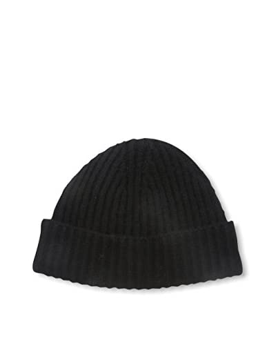Portolano Men's Cashmere Hat Ribbed Beanie with Cuff, Black