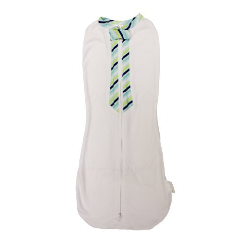 Woombie Little Stud Baby Swaddler (Newborn 5-13 Lbs, Tie Green/Blue Stripes)