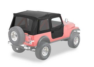 Bestop® 54603-15 Black Denim Supertop® Classic Replacement Soft Top With Tinted Windows- 2-Pc. Full Doors- 1980-1995 Jeep Cj7 And Wrangler