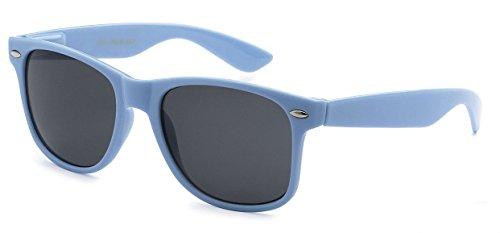Classic Retro Horn Rimmed Wayfarer Sunglasses Metal Spring Hinge Comfort Fit (Light Blue) (Light Blue Sunglasses compare prices)