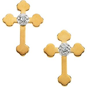 14K Yellow Gold Diamond Cross Earring