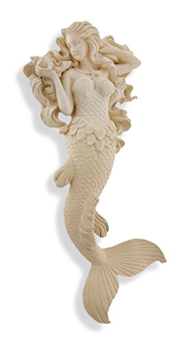 Museum White Modest Mermaid Wall Hanging Sculpture