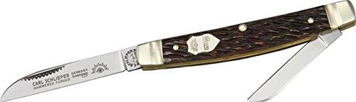 German Eye Two Blade Congress Folding Knife,Sheepsfoot/Coping Blade, Brown Jigged 54 Brown Bone