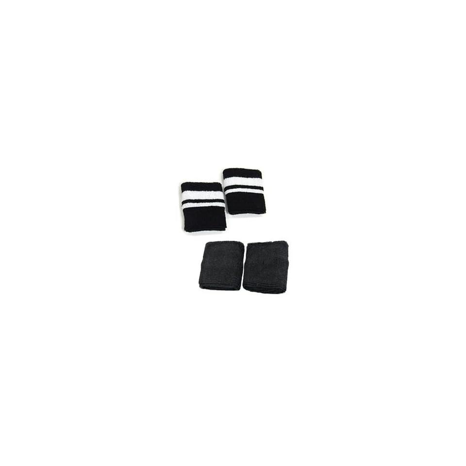 Case Star ® 2 Pair of (Black,Black and White Stripe) Cotton Sports Basketball Wristband/SweatBand Wrist Band + Case Star Cellphone Bag