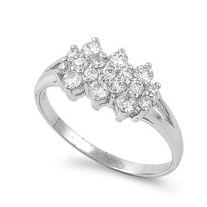 High Fashion Sterling Silver Engagement Promise Ring - Clear CZ Studded - size6
