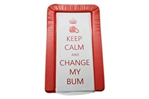 "Cambiador de bebé ""keep calm & change my bum"" en color rojo, unisex, acolchado luxury e impermeable"
