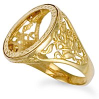 Jewelco London 9ct Solid gold Full Round St George sovereign coin mount Ring,Size W